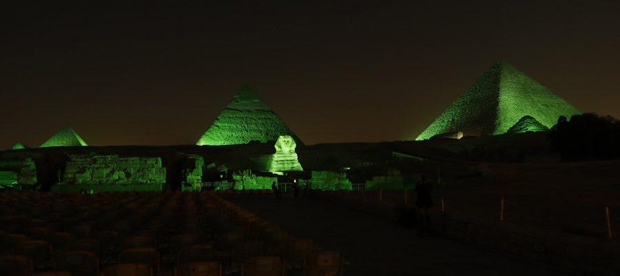 Egypt's pyramids wear green for the environment