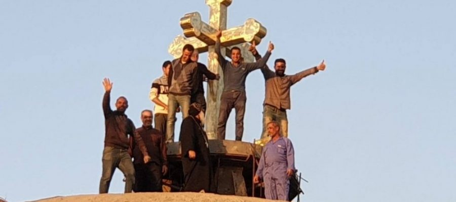 Cross mounted over dome of first Coptic Orthodox church in Baghdad
